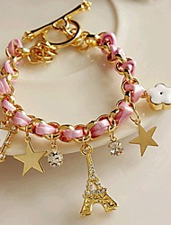 Women's Fashion Alloy Stars Flower Leather Rope Tower Bracelet