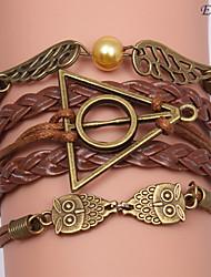 pulseras eruner®leather multicapa búho aleación y alas encantos pulseras hechas a mano