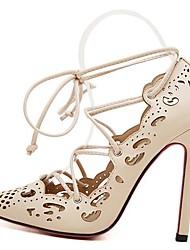 Chaussures Femme - Habillé / Soirée & Evénement - Noir / Beige - Talon Aiguille - Bout Pointu - Talons - Similicuir