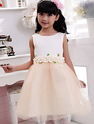 Ball Gown Tea-length Flower Girl Dress - Cotton Jewel with Appliques