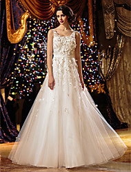 Lanting A-line Petite / Plus Sizes Wedding Dress - Ivory Floor-length Scoop Tulle