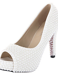 Women's Wedding Shoes Heels/Peep Toe/Platform/Comfort Heels Wedding/Outdoor/Dress/Casual/Party & Evening White