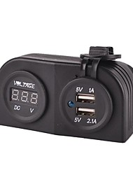 Marine USB Charger Power Adapter+ LED Digital Display Voltmeter Socket