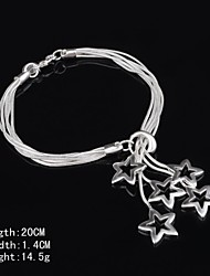 Stylish Sterling Silver Star Dangle Women's Bracelet
