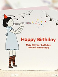 The Flute Girl Mini Birthday Greeting Card (7.5*7.5cm)
