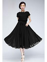 Daisy Women's Solid Color Short Sleeve Chiffon Dress