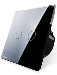 Livolo EU Standard Touch Switch,Black Glass Panel, 2 Gang2Way,110-250VAC, Wall Light Touch Screen Switch