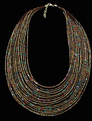 Bohemia Style Weave Glass Small Beaded Chain Multi Strand Fashion Necklace for Anniversary, Party