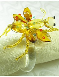 Dragonfly With Crystal Napkin Ring, Acrylic, 1.77Inch, Set of 12