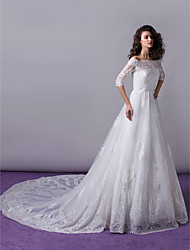 Lanting Bride® A-line / Princess Wedding Dress - Classic & Timeless / Elegant & Luxurious / Glamorous & Dramatic Cathedral Train