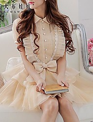 Pink Doll kvinna skjorta Krage Asymmetrisk OL Kortärmad skjorta