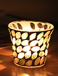 European Style Leaves and Flowers Glass Mosaic Candle Holder