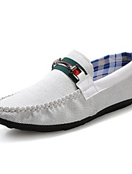 Men's Shoes Casual Canvas Loafers Black/White