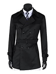 Men's Long Sleeve Trench coat , Canvas/Cotton Blend Pure
