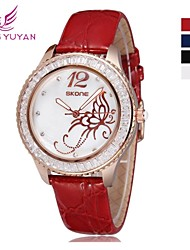 SKONE ®Leather Watch Women Rhinestone Imported Japan Quartz Shell Dial Watch(Assorted Colors) Cool Watches Unique Watches