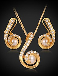 "U7®Lucky Number ""6"" Pendant Necklace Stud Earrings 18K Real Gold Plated Rhinestone Pearl Bridal Jewelry Set"