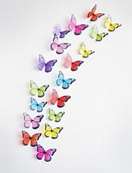 18pcs 3d adesivos de parede adesivos de parede, borboletas coloridas parede pvc etiquetas