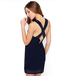 Women's Sexy Condole Belt Sequins Chiffon Dress