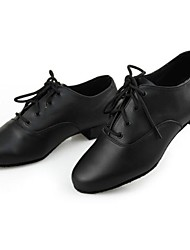 Non Customizable Men's Dance Shoes Modern Leather Cuban Heel Black