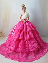 Barbie Doll Stunning Rosy Holiday Dress with White Fur