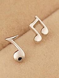 Women's Fresh Silver Music Notation Earrings