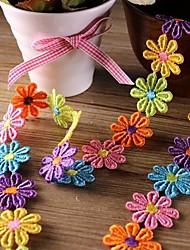 """1 """"ruban de dentelle de l'artisanat à la frontière multicolore de fleurs exquises pour les bijoux de cheveux (2 mètres)"""