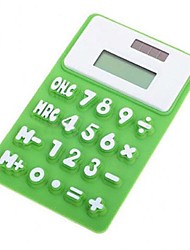 Mini LCD 8 Digit Solar Powered Peach Silicone Calculator (Random Color)