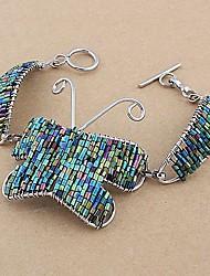 Fashion Copper Glass Tube Butterfly Bracelets Random Color
