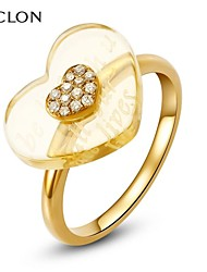 MCLON Fashion Gold With Diamond Crystal Statement Ring