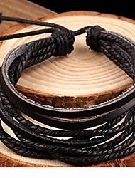 кожаный коричневый черный мужской браслет обруча (1 шт) для оптовой