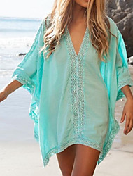 Women's Fashion Solid Cotton Hollow crochet Swimwer Bikini Beach Cover Up Sun Prevention Mini Dress