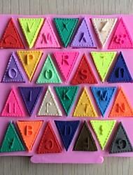 fondant bolo em forma de chocolate do molde de silicone alfabeto Bunting, ferramentas de decoração cupcake, l11.2cm * * w10.6cm h0.7cm