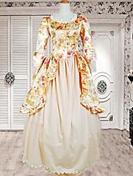 lange mouw vloer lengte gele bloemen katoenen sweet lolita jurk