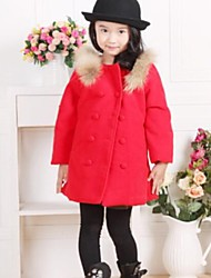 gola de vison casaco de lã double-breasted da menina