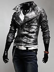 novo padrão de jacaré colar turn-down exclusivo roupa de couro fino dos homens