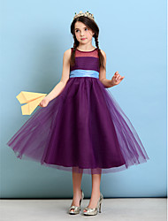 Lanting Bride® Tea-length Tulle Junior Bridesmaid Dress A-line / Princess Jewel with Sash / Ribbon
