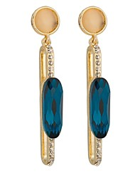 Woman's Fashion Gold Strip Blue Zirconia Earringss