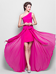 Lanting Floor-length Chiffon Bridesmaid Dress - Fuchsia Plus Sizes / Petite Sheath/Column One Shoulder