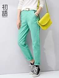 Women's Green/Yellow Straight Pants , Casual