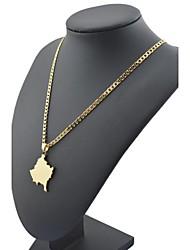 figaro 45 centímetros cadeia homens mapa kosovo pingente dourado chapeado colares cadeia (largura 4mm)