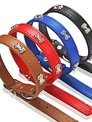 Dog Collar Adjustable/Retractable Red / Black / Blue / Brown PU Leather