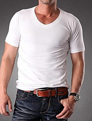 Men's V Neck High Quality Plain Blank Lycra Short Sleeve T-shirt