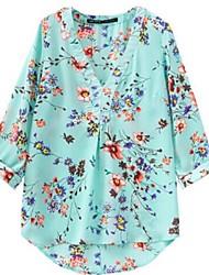 impresión rural v-cuello mangas siete camisas de las mujeres
