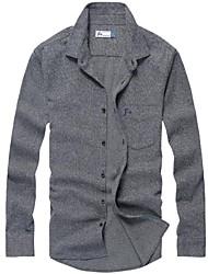 Men's Long Sleeve Shirt , Cotton Casual/Work/Sport Pure