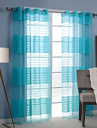 Modern One Panel Stripe Blue Living Room Rayon Panel Curtains Drapes