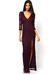 Women's Solid/Lace Black/Purple Dress , Sexy/Bodycon/Beach/Casual/Lace/Cute/Party/Work/Maxi Deep V Sleeveless