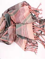 Women's Classic Pink Green Grid Thickening Cashmere Scarf