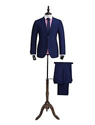 soild bleu adapté costume ajustement 100% laine
