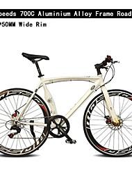 700c bicicleta de 14 velocidades de 50 mm de largura de alumínio aro tl ™ frame da liga de freio de disco duplo bicicleta curva guiador estrada