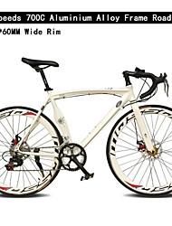 700c bicicleta de 14 velocidades de 60 milímetros de largura de alumínio aro tl ™ frame da liga de freio de disco duplo bicicleta curva guiador